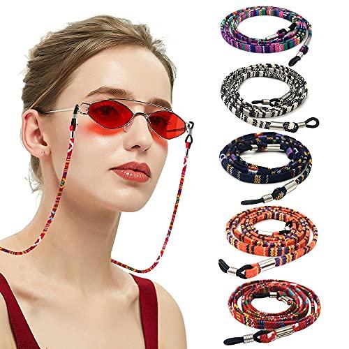 5 Stück Brillenband,Brillenbänder Brillenkette mit Einstellbare Leder Brille Seil für Damen Herren,Bunt Sport Brillenschnur/Brillenkordel/Hals Lanyard/Brillen Halter Set für Sonnenbrillen Lesebrillen