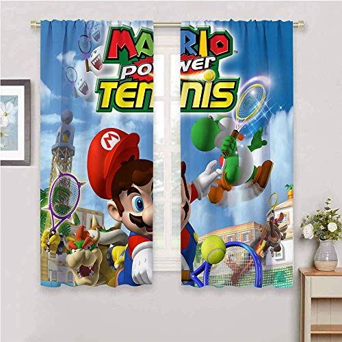 QIAOQIAOLO Super Mario Verdunkelungsvorhänge, 213,4 cm Länge, Raumverdunkelung (Mario Power Tennis), 213,4 x 213,4 cm (B x L)