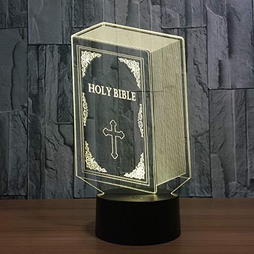 LIkaxyd 3D Nachtlicht Illusion Lampe,Bibel,7 Farben Allmählich Wechselnde Touch Switch Usb Tischlampe,3D Illusion Lampe,Das Beste Geschenk Für Kinder!