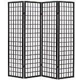 FAMIROSA Biombo Plegable con 4 Paneles Estilo japonés 160x170 cm Negro Negro