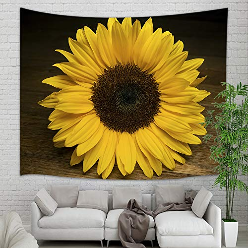 Fall Plant Flower Tapestry Wall Hanging, Autumn Yellow Sunflower on Rustic Wooden Wall Tapestry Art, Tapestries for Home Decorations TV Backdrop Dorm Decor Living Room Bedroom, Beach Towel, 60
