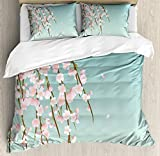 Ambesonne Weeping Flower Duvet Cover Set, Freshly Blooming Cherry Blossom Branches with Flower Buds, Decorative 3 Piece Bedding Set with 2 Pillow Shams, King Size, Mint Pink