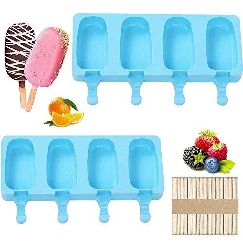 Eisformen Eis Am Stiel 2 Stück 8 Zellen silikon-Eis am stiel formen Dessertform Obst Schokolade DIY Frozen Eiscreme Stick 50 Stück Holzstäbchen Kuchenform Dessert Eisformen für Kinder Erwachsen
