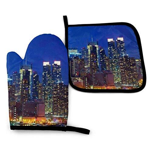 Ahdyr Ofenhandschuhe und Topflappen 2-teilige Sets Hitzebeständige Ofengrillhandschuhe NYC Midtown Skyline Wolkenkratzer Küchenhandschuhe zum Grillen Kochen Backen Grillen