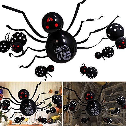 Globos decorativos de Halloween de Betoy, multifuncional, diseño de araña, globos de horror para casa de spukhaus Halloween, temática de fiesta, suministros para decoración de patios, color negro