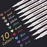 Rotuladores metálicos, juego de 10 colores surtidos para Album de fotos Vidrio Papel negro Álbum de recortes Tarjeta de regalo de bricolaje El plastico Cerámico Libro de visitas (Punta de 1 mm)