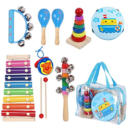 Kids Musical Instruments Sets, 12pcs Wooden Percussion Instruments Toys Tambourine Xylophone for Kids Playing Preschool Education, Early Learning Musical Toys for Boys and Girls Gift with Carry Bag