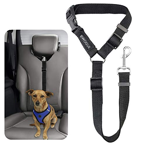 BWOGUE Pet Dog Cat Seat Belts, Car Headrest Restraint Adjustable Safety Leads Vehicle Seatbelt Harness