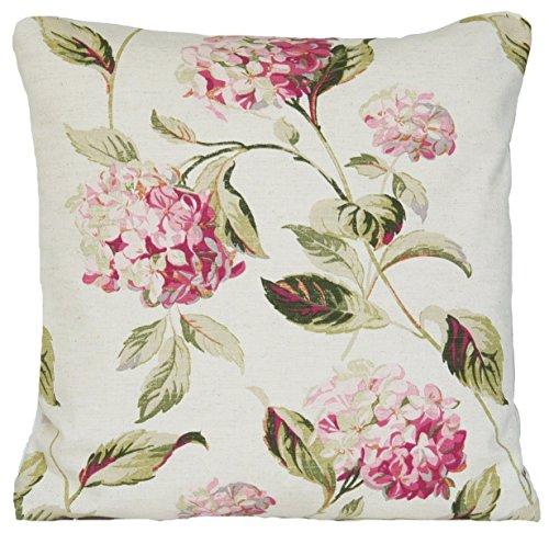 "Laura AshleyCojín, diseño de hortensias, color rosa/verde, Algodón, rosa, 16"" x 16"""
