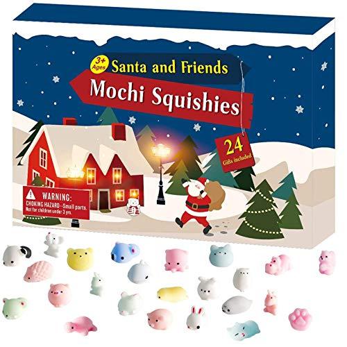 Kinder Adventskalender 2020 Weihnachten Süßes Tier Silikon Kit, 24 Stück Verschiedene Countdown-Kalender Spielzeug, Mädchen oder Jungen