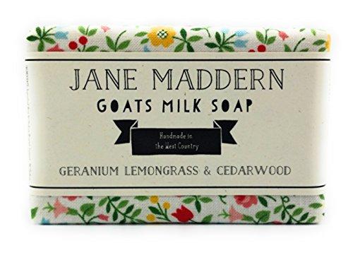 Jane Maddern Handgefertigt Ziegen Milch Seife 90g (Geranie, Zitronengras und Zedernholz), Hergestellt in Somerset, England