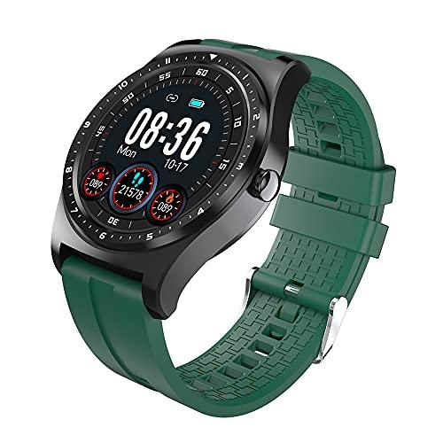 Smart Watch Full Touch Smart Watch Men's Android 15 días a Largo Plazo Listo para Usar La presión Arterial a Prueba de Agua iOS, Monsteramy (Color : Green)