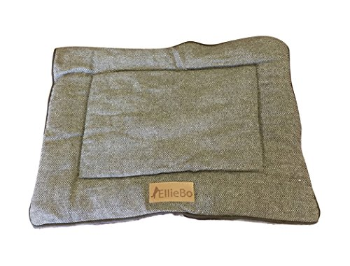 Ellie-Bo Reversible Tweed and Brown Faux Fur Mat Bed for Small 24 inch Dog Puppy Cages and Crates