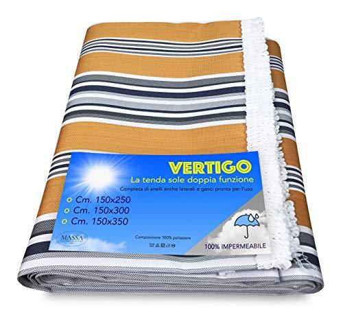 Vertigo - Rideau de soleil pour extérieur, jardin, balcon, balcon, jaune, imperméable et hydrofuge (150 x 350 cm)