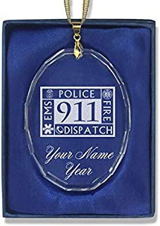 LaserGram Christmas Ornament, Emergency Dispatcher 911, Personalized Engraving Included (Oval Shape)