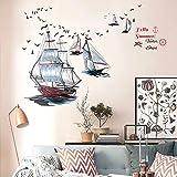 WandSticker4U- Wandtattoo SEGELSCHIFFE I Wandbilder: 98X87cm I Wand Aufkleber Maritim Ozean Meer See Anker Segel Boot Schiff Möwen Fliesen Sticker I Deko für Wohn-Schalfzimmer Bad Küche...