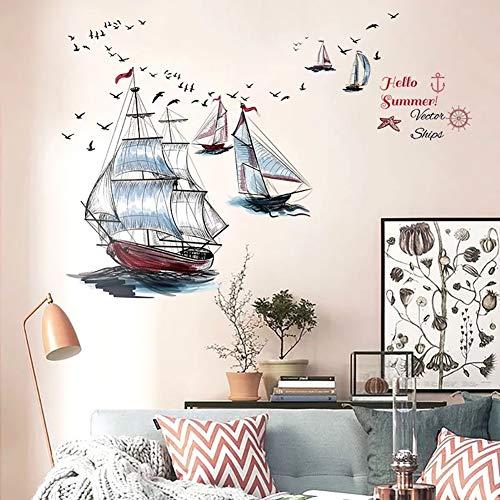 WandSticker4U- Wandtattoo SEGELSCHIFFE I Wandbilder: 98X87cm I Wand Aufkleber Maritim Ozean Meer See Anker Segel Boot Schiff Möwen Fliesen Sticker I Deko für Wohn-Schalfzimmer Bad Küche Flur GROSS