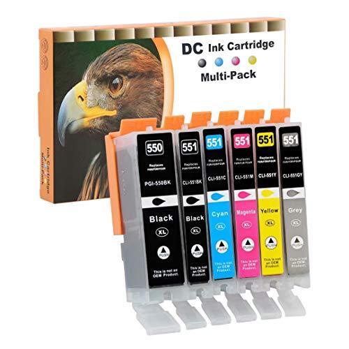 D&C 6x Druckerpatronen Kompatibel für Canon PGI-550 XL CLI-551 XL für Canon Pixma MG6650 MG7100 MG7150 MG7550 iP7200 iP7250 MG5400 Series MG5450 MG5550 MG5650 MG5655 MX725 MX920 iP8750 iX6850 MG6350