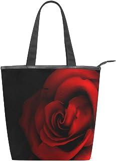 jeansame Jeansame Canvas-Handtasche für Damen, Shopper mit Tragegriff, Schultertasche mit Reißverschluss, Schwarz/Rot/Rosen/Blumen