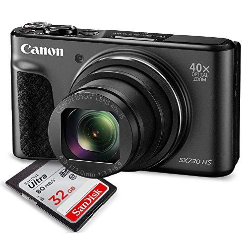 Canon PowerShot SX730 HS Digital Camera (Black) w/ 32 GB