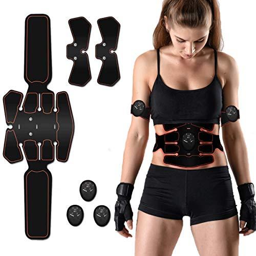 Nitoer Electroestimulador Muscular Abdominales Cinturón,Masajeador Eléctrico Cinturón,Entrenador Inalámbrico Portátil de 6 Modos de Simulación,10 Niveles Diferentes para Abdomen/Cintura