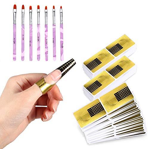 Kavya 600 Stück Nagel Schablonen, 7 Pinsel, Modellier-Schablone selbstklebend für Gel-Nägel & Nagel-Verlängerung Golden Schablonen, für die künstliche Fingernagel Modellage Nagelstudio/DIY-Maniküre