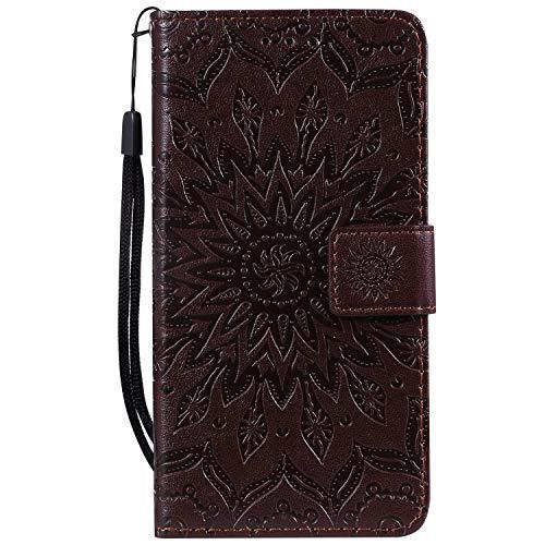 Tosim Xiaomi Mi 9SE Hülle Leder, Klapphülle mit Kartenfach Brieftasche Lederhülle Stossfest Handyhülle Klappbar Case für Xiaomi Mi 9 SE - TOKTU020446 Braun
