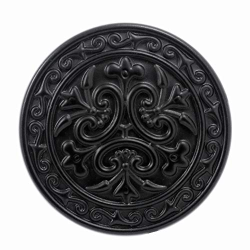 Bezelry 12 Pieces Celtic Flowers Metal Shank Buttons. 23mm (7/8 inch) (Matte Black)
