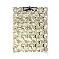 個性的 キングジム:クリップボード カラー A4判タテ型 抽象的な アイデア多機能メニュー 垂直水平交差丸みを帯びた線幾何学的なカラフルなパターンオレンジライトブルーブラウン