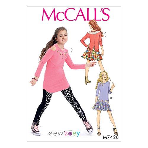 McCall 's Patterns 7428CHJ Mädchen Top/Kleid/Tunika/Rock und Leggings, Tissue, mehrfarbig, Größen 7–14