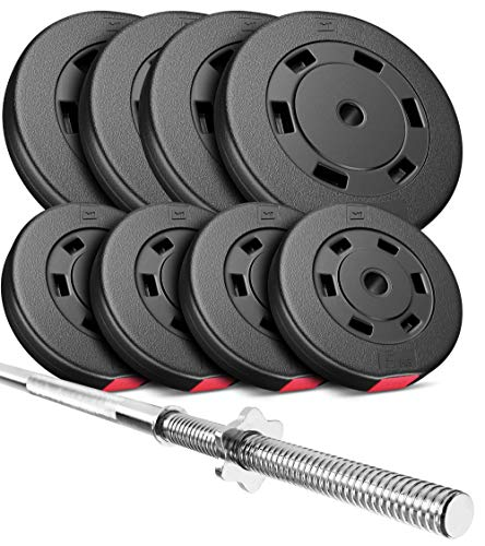 Hop-Sport Hantelset 69 kg Langhantel-Stange Hantelcheiben 4x10 kg + 4x5 kg