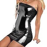 VicSec Una Pieza Vestido Charol Erótica, Súper Elástica Sexy Lencería Falda de PU Cuero de Patente Brillante Protección Ambiental para Mujeres Flacas Bodycon - Negro