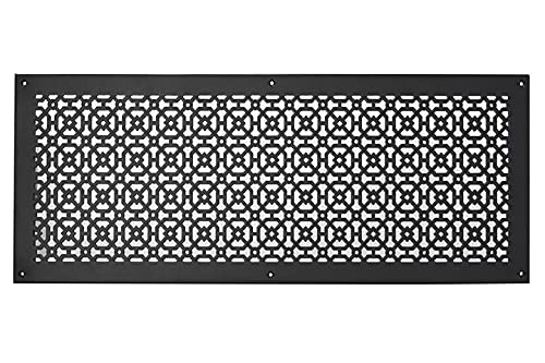"""Achteck 10""""x 30"""" Duct opening Solid Cast Aluminum Air Return Grill Vent Cover   Powder Coated  ( Overall 12""""x 32"""") For WALL-BLACK With Screw Holes"""