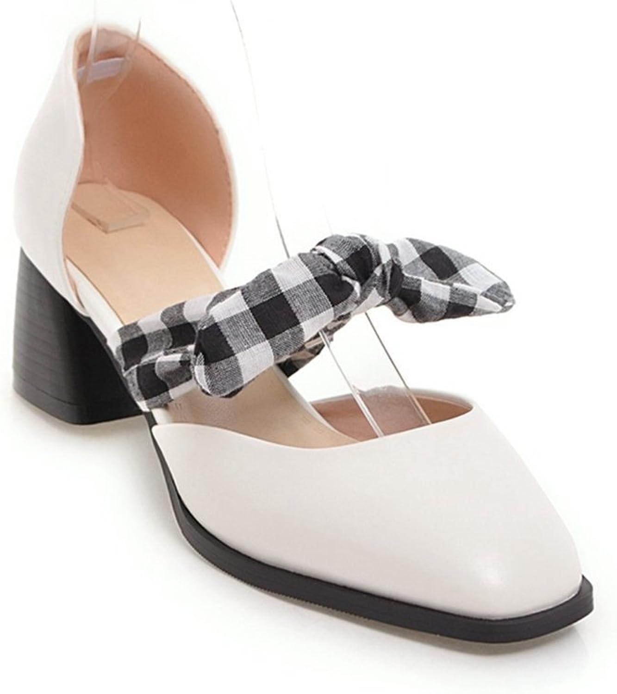 GIY Women's Bowknot Close Toe Dress Sandals Platform -Wedding, Party, Chunky Block High Heel Pump Sandals
