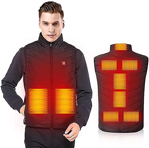 Heated Body Warmer Heated Vests USB Electric Body Warmer Heated Vest Heating Vest with 3 Temperature Settings Heated Clothes Lightweight Design Heated Gilet Unisex Warming Heated Vest Washable Black