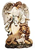 Joseph's Studio by Roman - Guardian Angel with Lion and Lamb Figure on Base, Renaissance Collection, 9.25' H, Resin and Stone, Religious Gift, Decoration