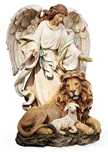 Joseph's Studio by Roman – Guardian Angel with Lion and Lamb Figure on Base, Renaissance Collection, 9.25″ H, Resin and Stone, Religious Gift, Decoration