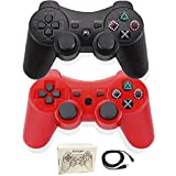 Kolopc 2 Packs Wireless Controller Gamepad Remote for PS3 Playstation 3 Double Shock - Bundled with USB Charge Cord (Red and Black)