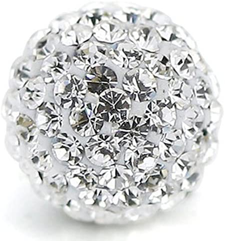 RUBYCA Pave Czech Crystal Disco Ball Clay Beads fit Shamballa Jewelry 100pcs 12mm White Clear product image
