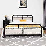 Giantex Queen Size Metal Bed Frame, Vintage Metal Platform Bed with Button Tufted Headboard & Footboard, Heavy Duty Steel Slats, No Box Spring, Mattress Foundation (Chocolate)