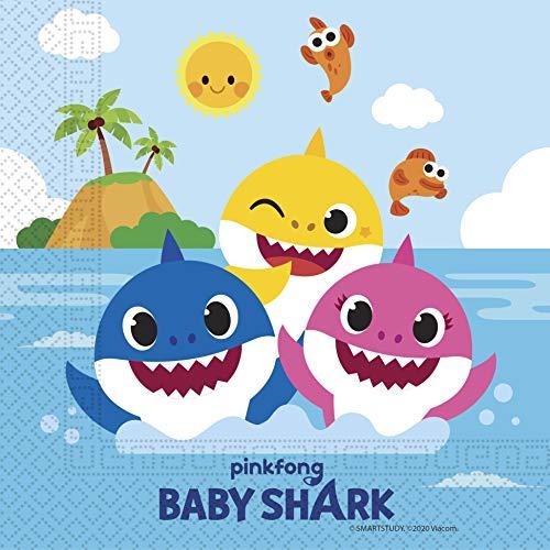 Procos 92542 - Servietten, Baby Shark, Fun in the Sun, 33x33cm, 20 Stück, Geburtstag, Mottoparty