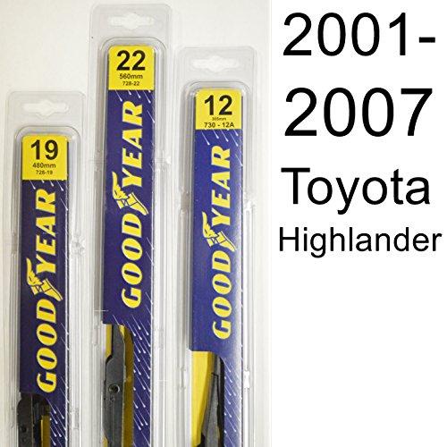 Toyota Highlander (2001-2007) Wiper Blade Kit - Set Includes 22' (Driver Side), 19' (Passenger Side) , 12A' (Rear Blade) (3 Blades Total)