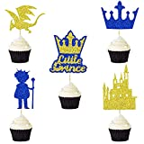 30 PCS Little Prince Cupcake Toppers for Gender Reveal Party Baby Shower Birthday Party Decorations Boy Birthday Party Supplies