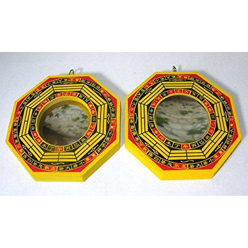 Dragon 2 Bagua Spiegel konvex und konkav ca. 10,5cm Holz Feng Shui traditionelles Schutzschild China