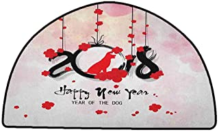 Floor mats for Kids Year of The Dog,Brush Calligraphy New Year with Cherry Blossom Silhouettes, Vermilion Black Pale Pink,W31 x L20 Half Round Low-Profile Mats