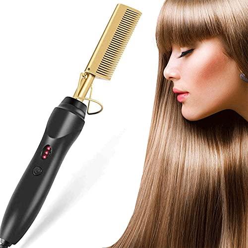 Cepillo alisador de pelo, profesional, alisador de pelo, rizador 2 en 1, con tecnología de iones, plancha de pelo con revestimiento de cerámica, para cabello seco y húmedo