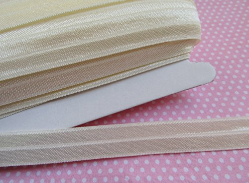 YYCRAFT Fold Over Elastic Stretch Foldover FOE Elastics for Hair Ties Headbands Variety Color Pack 20 Yards (Ivory)