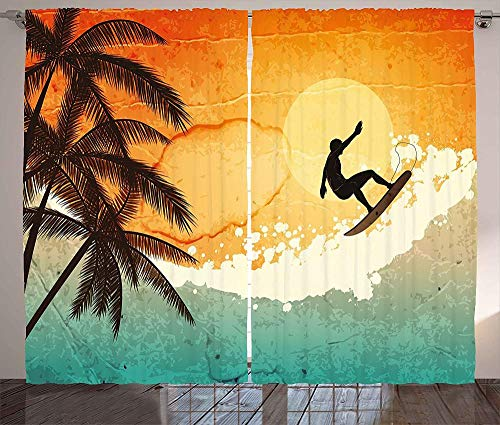 Cortinas térmicas, cortinas con ojales Cortinas opacas con aislamiento térmico 2 piezas de tela 100% poliéster (Ojal 4cm) Cortinas de paisaje ilustración de surfistas y palmeras en las olas del mar tr