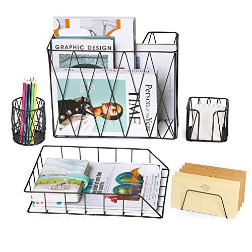Schreibtisch Organizer Set, 5 in 1 Bürobedarf Enthält Zeitschriftenhalter Organizer-Korb, Bleistiftbecherhalter, Zeitungsständer, Postsortierer, Haftnotizenhalter für zu Hause oder Büro, Schwarz