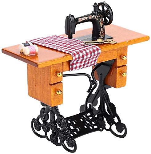 Wifehelper Máquina de Coser Casa Muñecas 1:12 Muebles Casa de Muñecas en Miniatura Máquina de Coser Madera Decoración Casa Muñecas Casa de Muñecas Accesorios Juguete Decoración